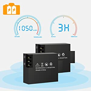 The Campark X20 includes two rechargeable Li-ion 1050mAh batteries, which may last about 120 minutes recording in 1080 Complete HD and approximately 60 minutes in 4K/2.7K